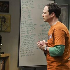 Sheldon working on the basics problems of physics.