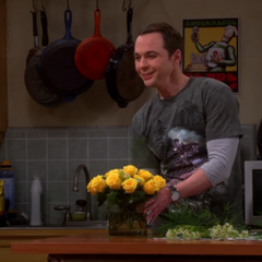 Sheldon and the yellow roses he got for his mother.