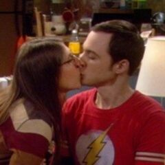 Drunk Amy kisses Sheldon.