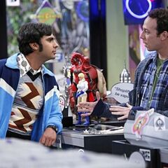 Raj and Stuart at the comic book store.