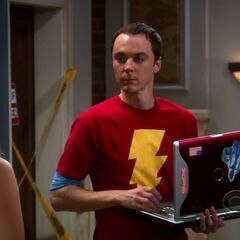 Sheldon using his computer when he can't speak.