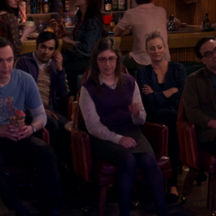 The five gang members watch Howard sing to Bernadette.