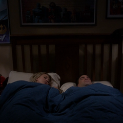 Leonard and Penny trying to sleep.