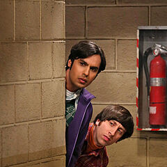 Raj and Howard spying on Sheldon.