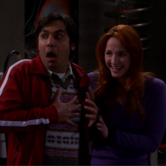 Emily enjoying Raj's reaction to the surprise zombie attack.