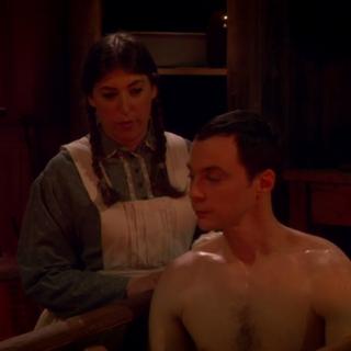 Washing her man Cooper.