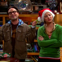 Leonard and Penny at Christmastime.
