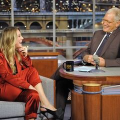 Kaley being interviewed by David Letterman on his show
