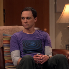 Sheldon watches the conversation.