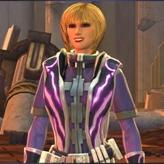 Bernadette's <i>Star Wars: The Old Republic</i> Jedi Consular with purple robes.