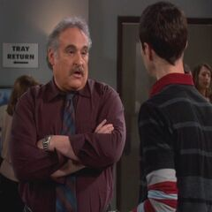Sheldon talking to Professor Goldfarb.