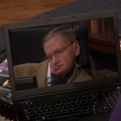 Professor Hawking talking to Sheldon.
