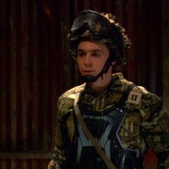 Sheldon in the paintball shack.