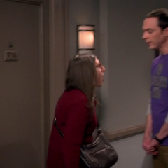 Sheldon appearing suddenly and scaring Amy