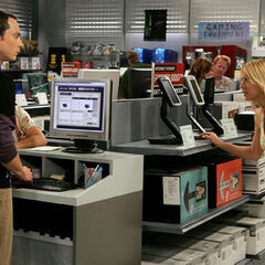 Sheldon taking over the salesman's job at the computer store.