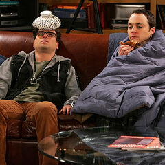 Injured Leonard and sick Sheldon.