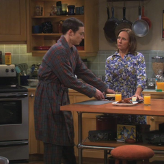 Sheldon wants his Mom to cook for him.