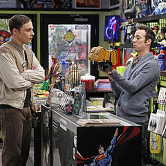 Sheldon looking for a birthday gift for Amy's aunt.