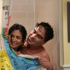 Leonard and Priya in the shower