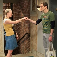 Penny and Sheldon in the hallway - not in the final episode.