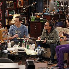 Raj, Sheldon, Leonard, and Howard talking over dinner.
