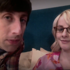 Howard and Bernadette video chatting.
