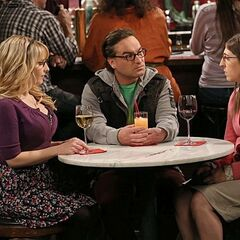 Leonard ends up having dinner with Bernadette and Amy after Penny dumps him.