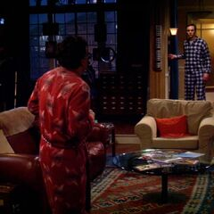 Sheldon catches Leonard sneaking back into the apartment.