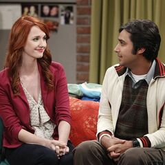 Emily and Raj visiting Penny.