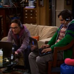 Leonard and Raj during the online gaming marathon.
