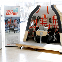 The Soyuz set on display.