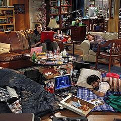 The guys slept in Leonard and Sheldon's living room.
