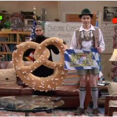 Sheldon and Amy dress-up for his Bavarian flag show.