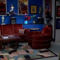 Mrs. Wolowitz's den furniture is used in the new comic book store.