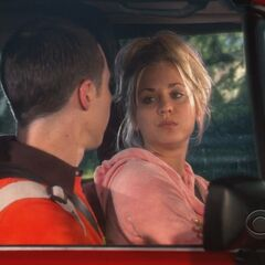 Penny about to tell Sheldon to get out of the car.