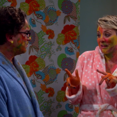 Penny and Leonard paint