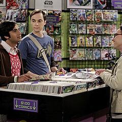 Raj, Sheldon and Leonard at the comic book store.