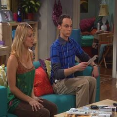 Sheldon trying to find a spot in Penny's apartment.