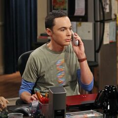 Sheldon on the phone with Leonard.