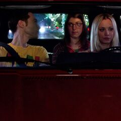 Penny driving Sheldon and Amy on their date