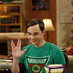Sheldon doing Spock's signature hand gesture.