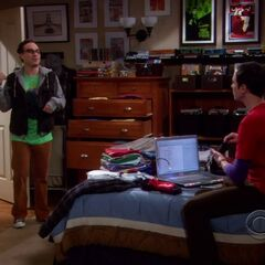 Sheldon tagging his clothes.
