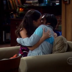 Raj making out with Abby.