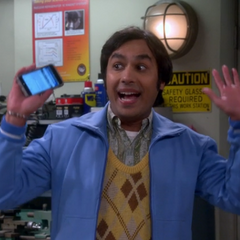 Raj imitating the animated smiley face raising the roof like this...