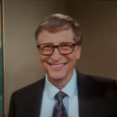 Bill Gates greets Leonard.
