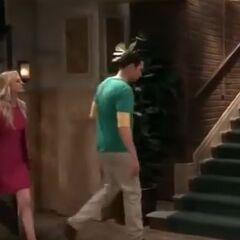 Sheldon heading to the stairs.