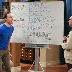 Sheldon celebrating his genius.