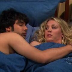 Penny in bed with Raj.