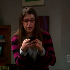 Amy texting Bernadette.