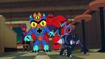 Fred Hiro and Baymax see Cerberus Bot
